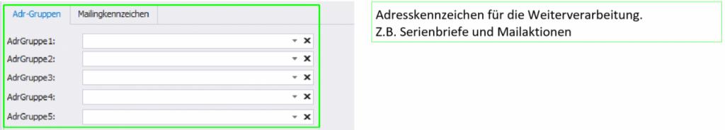 BIZS Eingabefeld Adressgruppen und Mailingkennzeichen