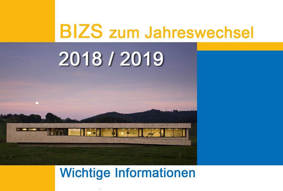 BIZS zum Jahreswechsel 2018 / 2019 - ToDo´s & Download