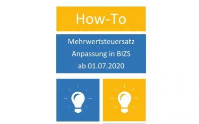 Mehrwertsteuer Anpassung in BIZS ab 01.07.2020